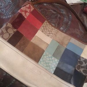 Authentic Coach leather bag with colored patchwork